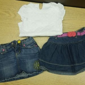 Beautiful blue Jean skirt and white top
